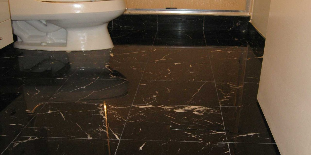 Black Marble Bathroom Floor Polishing