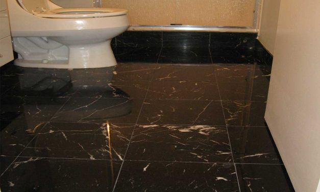 Black Marble Bathroom Floor Polishing